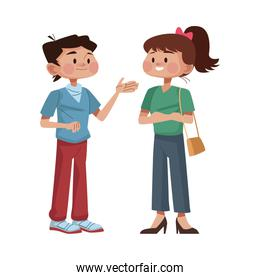 young couple avatars characters icon