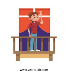 young man on balcony avatar character