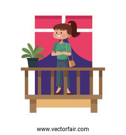 young woman on balcony character