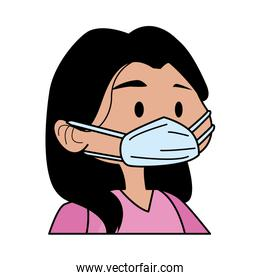 young woman using medical mask