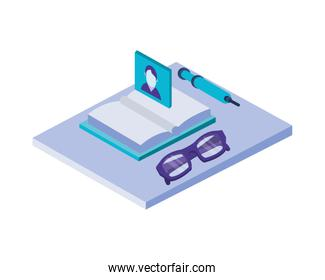 text book library with eyeglasses and pen