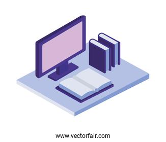 desktop with text books isometric icons