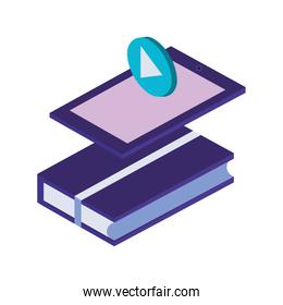 text book library and tablet isometric