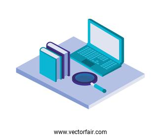 laptop computer with books and magnifying glass