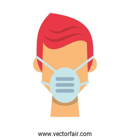 man using medical mask character