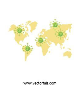 coronavirus particles with world planet map