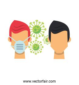 coronavirus particle with men using face mask