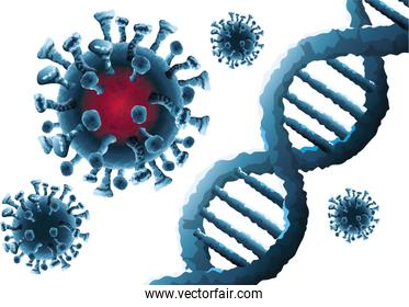 corona virus particles and dna molecules background