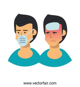 group of men sick with symptoms and use medical mask