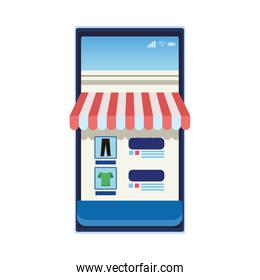 smartphone with parasol ecommerce icon