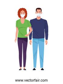 young couple using medical masks characters