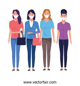 young women using medical masks characters