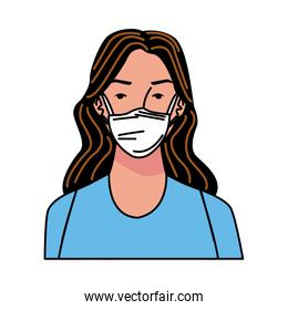 young woman using medical mask character