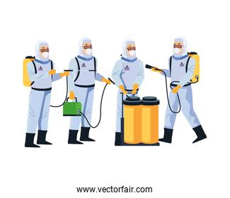 biosafety workers with sprayer portable and tanks