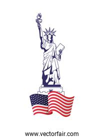 united states of america flag with liberty statue