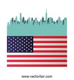 united states of america flag with cityscape