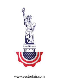 united states of america flag lace hanging and liberty statue
