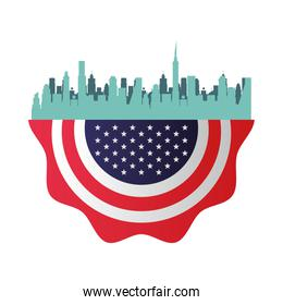 united states of america flag lace hanging and cityscape