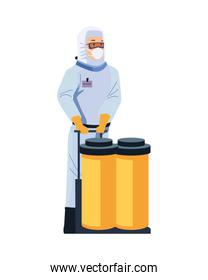 biosafety worker with tanks character