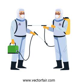 biosafety workers with sprayers portables