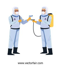 biosafety workers with sprayer and thermometer