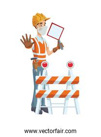 builder using medical mask with traffic signal