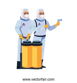 biosafety workers with thermometer laser and tanks