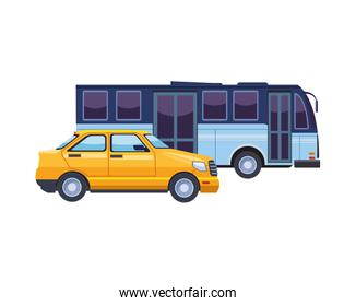 taxi and bus transport vehicles