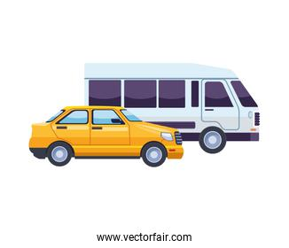 van and taxi transport vehicles