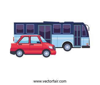 bus and car transport vehicles