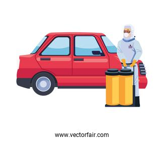 biosafety worker with tanks and car