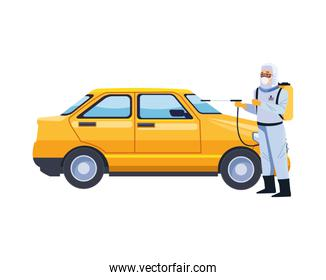 biosafety worker with sprayer portable and taxi
