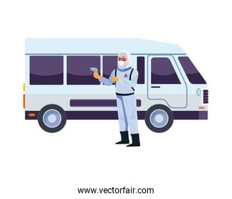 biosafety worker with thermometer laser and bus