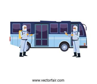 biosafety workers with sprayer and thermometer in bus