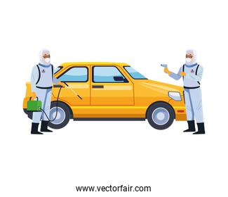 biosafety workers with sprayer and thermometer in taxi