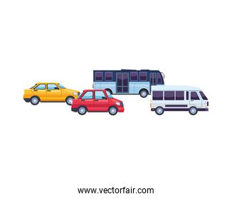 bus and cars transport vehicles