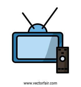 tv and control fill style icon