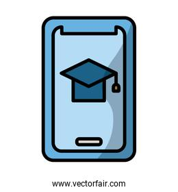 smartphone with graduation hat elearning fill style