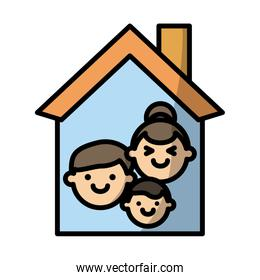 house with family fill style icon