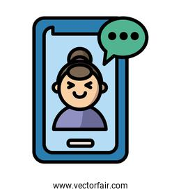 smartphone with woman and speech bubble fill style