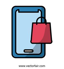 smartphone with shopping bag fill style