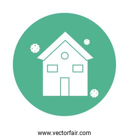 house with corona virus particles silhouette block style
