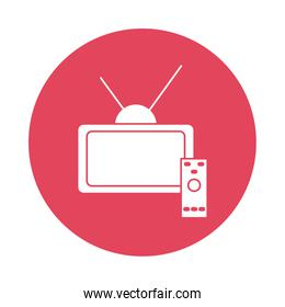 tv and control silhouette block style icon