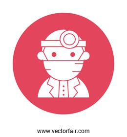 doctor wearing medical mask silhouette block style icon