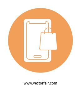 smartphone with shopping bag silhouette block style