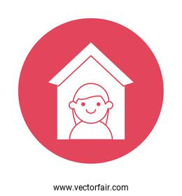 woman in house silhouette block style icon