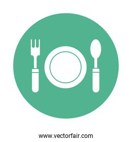 dish with fork and spoon silhouette block style