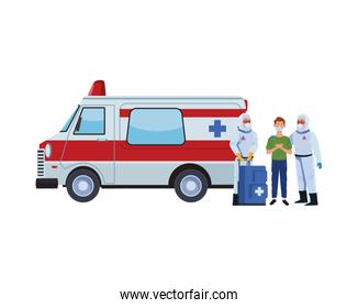 biosafety workers with medical equipent and ambulance