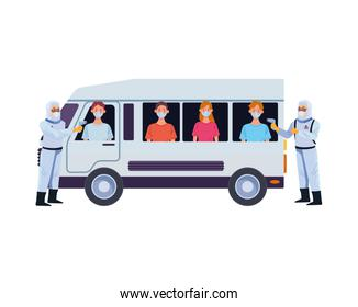 biosafety workers with thermometers laser in van and people