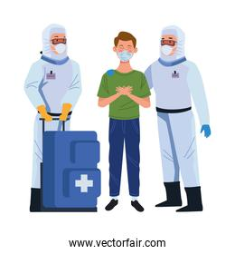 biosafety worker with medical equipent and patient
